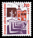 Stone bridge, Regensburg, Sights serie, circa 2000. MOSCOW, RUSSIA - FEBRUARY 21, 2019: A stamp printed in Germany, Republic shows Stone bridge, Regensburg stock photography