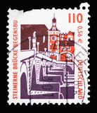Stone bridge, Regensburg, Sights serie, circa 2000. MOSCOW, RUSSIA - FEBRUARY 10, 2019: A stamp printed in Germany shows Stone bridge, Regensburg, Sights serie royalty free stock photos