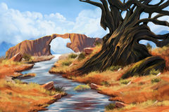 Stone Bridge, River, and Tree. Video Game's Digital CG Artwork, Concept Illustration, Realistic Cartoon Style Background Stock Image