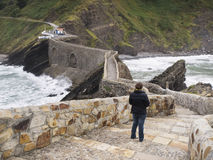 Stone bridge in San Juan de Gaztelugatxe Royalty Free Stock Photography