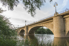 Stone Bridge or San Juan Ortega Bridge over the Ebro River, Logr Stock Photo