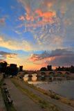 Stone bridge Skopje macedonia royalty free stock photos