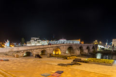 Stone bridge in Skopje, by night Royalty Free Stock Photo