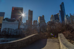 A Stone Bridge in South Central Park in Manhattan Royalty Free Stock Images