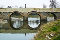 Stone bridge with the statue of St. John of Nepomuk in Litovel Stock Image