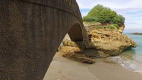 Stone bridge to the islet Rocher Du Basta 03 stock video footage
