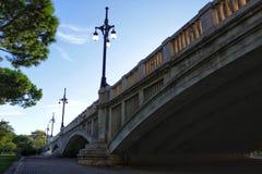 Stone bridge under blue sky in Valencia.  Royalty Free Stock Image