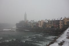 Stone bridge, Verona city in Italy royalty free stock image