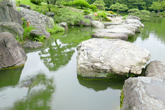 Stone bridge, water pond in Japanese zen garden Royalty Free Stock Photo