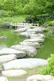 Stone bridge and water pond in Japanese zen garden Stock Photography