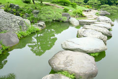 Stone bridge and water pond in Japanese zen garden Stock Images