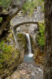 Stone Bridge with Waterfall in Mount rainier natio Royalty Free Stock Photo