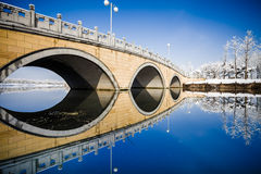 Stone bridge in the winter. Stock Photography