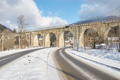 Stone bridge in winter, Ukraine Royalty Free Stock Photos