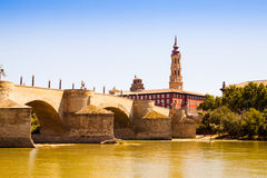 Stone Bridge in Zaragoza. Aragon Royalty Free Stock Images