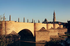 Stone Bridge of Zaragoza, Spain Stock Images
