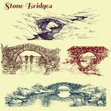Stone bridges set. A collection of bridges over rivers design elements vector illustration