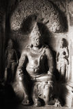 Stone Buddha. In an ancient Indian temple Royalty Free Stock Images