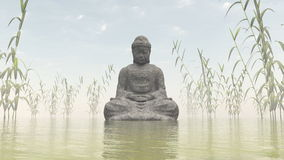 Stone Buddha - 3D render Stock Photo