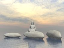 Stone buddha - 3D render Royalty Free Stock Photography