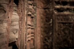 Stone Buddha Face In Temple, Cambodia Royalty Free Stock Photos