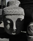 Stone Buddha head with serene face in shadowy landscape stock photo