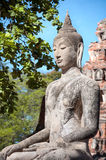 Stone Buddha statue seated in the lotus position at Wat Mahathat, Ayutthaya, Thailand Royalty Free Stock Images
