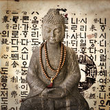 Stone Buddha, Vintage Korean Paper Stock Photo