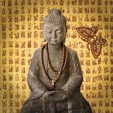 Stone Buddha, vintage Korean paper Royalty Free Stock Image