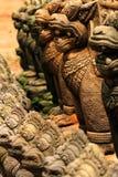 Stone Buddhist garden statues, Thailand. Stone lion Buddhist garden statues, Thailand Stock Photo