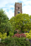 Stone Build Church and Clock Tower. St. David church clock tower in Ashprington Devon UK.  Built on a high point of the village so all can see the tower and Royalty Free Stock Photography