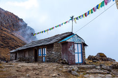 Stone Building of Himalaya Lodge with Shop and Shower Royalty Free Stock Photos
