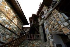 Stone buildings architecture from Paleo Panteleimonas Greece Stock Photo