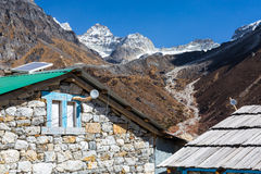 Stone Buildings in Mountain Village of Nepal Himalayas Royalty Free Stock Image