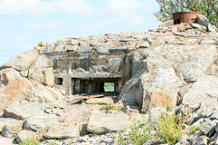 Stone bunker ruin Royalty Free Stock Photo