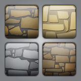 Stone buttons. Set of icons with different stone textures Royalty Free Stock Photography