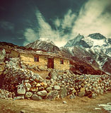 Stone cabin in the mountain,  Nepal Himalaya Royalty Free Stock Photography