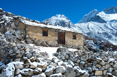 Stone cabin in the mountain, Nepal Himalaya Stock Images
