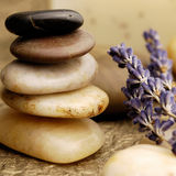 Stone Cairn. With Lavender flowers stock photography
