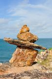 Stone Cairn. Good Balanced Stone Cairn at Koh Samet in Rayong province, Thailand stock photo