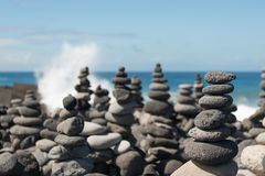 Stone cairn. Grey stone cairn on the island Teneriffa stock images