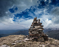 Stone cairn in Himalayas Stock Image