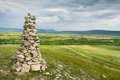 Stone cairn in Khakassia Royalty Free Stock Image