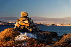 Stone cairn. Royalty Free Stock Image