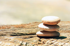 Stone Cairn On A Wood Royalty Free Stock Photo
