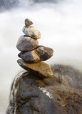 Stone Cairn River Blur Royalty Free Stock Image