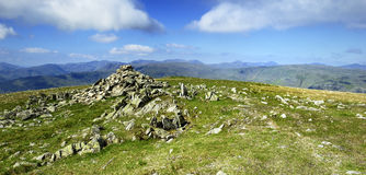 Stone Cairn on the summit Stock Photography