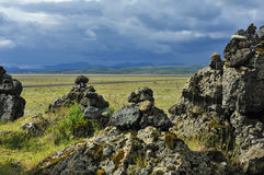 Stone cairns at Laufskalavarda, Iceland. Field of stone cairns at Laufscalavarda, Iceland Royalty Free Stock Images