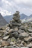 Stone cairns in Tatra mountains, Slovakia, harmony and balance under mount Rysy. Mountains and rocks Stock Images