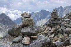 Stone cairns in Tatra mountains, Slovakia, harmony and balance under mount Rysy. Rocky mountains Stock Image